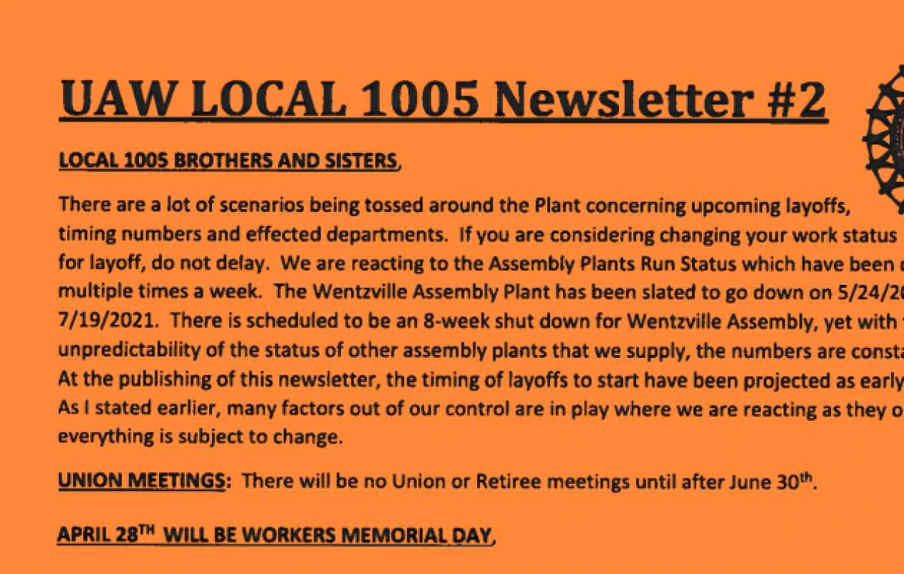 UAW Local 1005 Newsletter